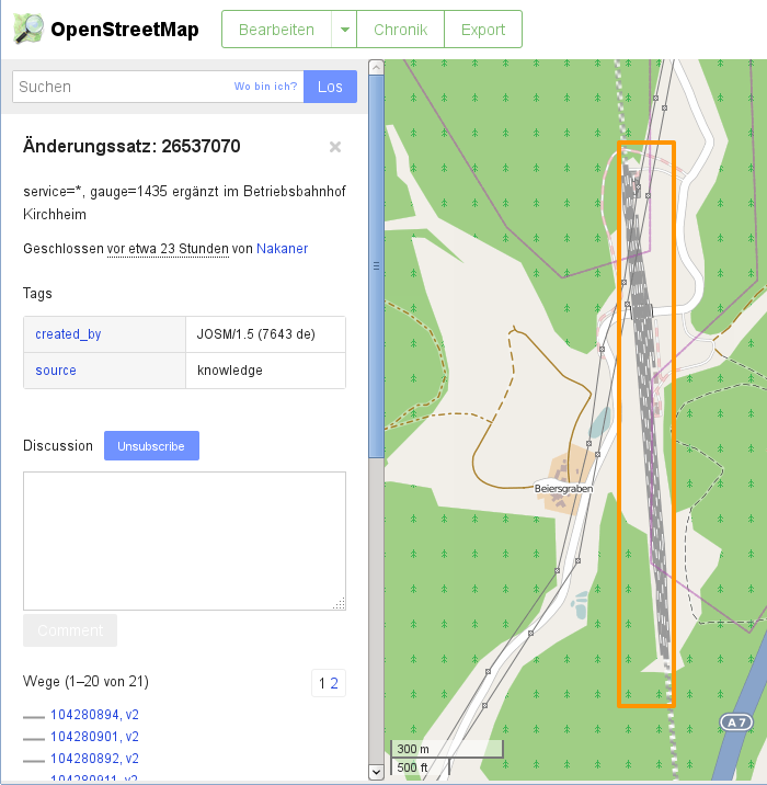 Changeset-Diskussionen – ein neues Feature auf openstreetmap.org (Kartendaten © OpenStreetMap-Mitwirkende, Kartengrafik CC-BY-SA 2.0