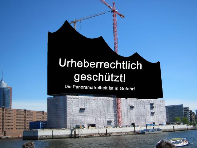 zensiertes Bild der Hamburger Elbphilharmonie vor ihrer Fertigstellung zur Demonstration dessen, was die Abschaffung der Panoramafreiheit erzeugen würde.