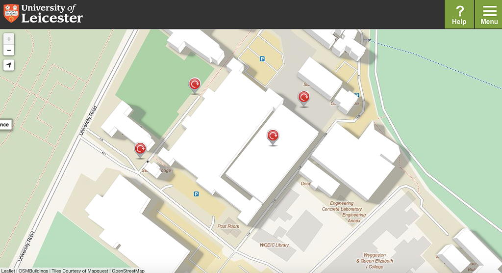 Campuskarte mit 3d Buildings