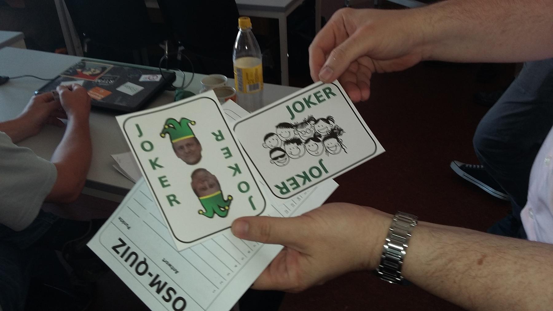 Foto Fred-Joker und Publikums-Joker zusammen mit Spielzettel