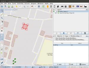 Screenshot JOSM Nodes mit Building=yes