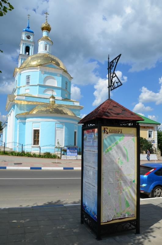 Ein Infopunkt mit OSM Karte in Kashira (Russland)
