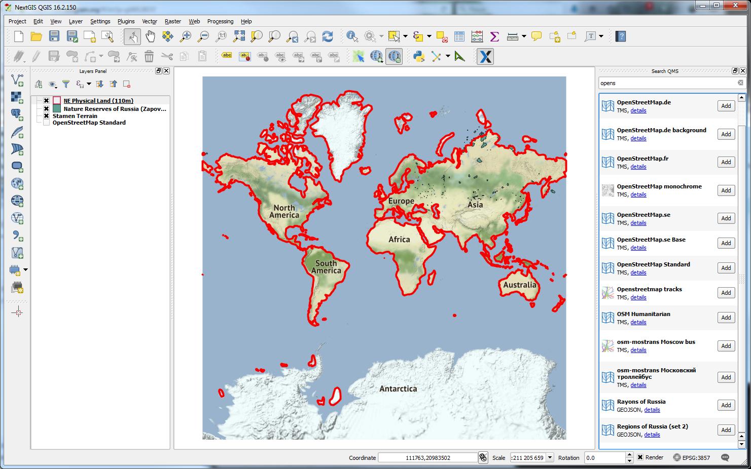 Screenshot von QuickMapServices