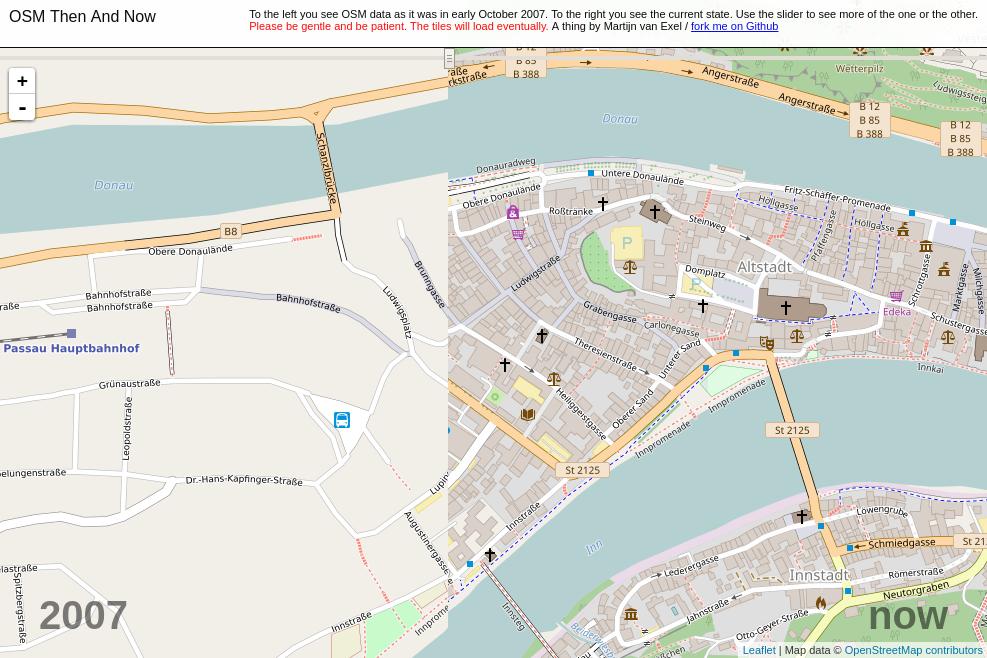 Der Mappingstand von 2007 und heute im Vergleich