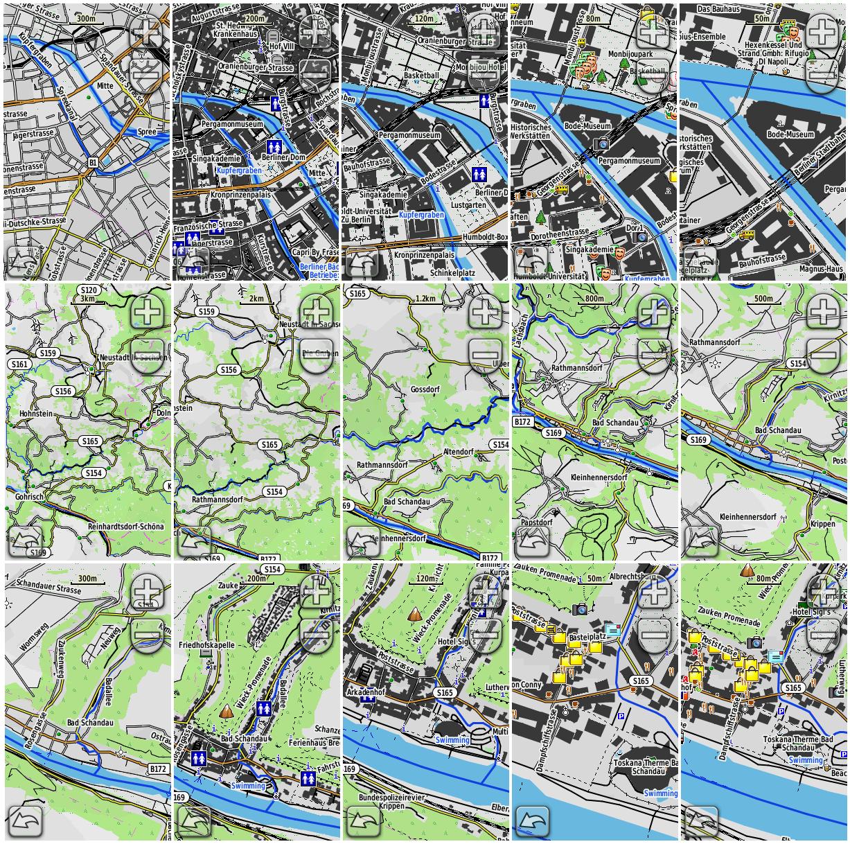 Beispiele des neuen OpenTopoMap-Stils