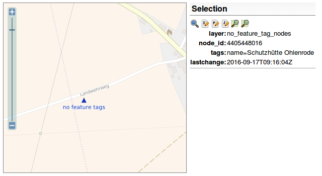 Screenshot OpenStreetMap Inspector, Objekte ohne Feature-Tags