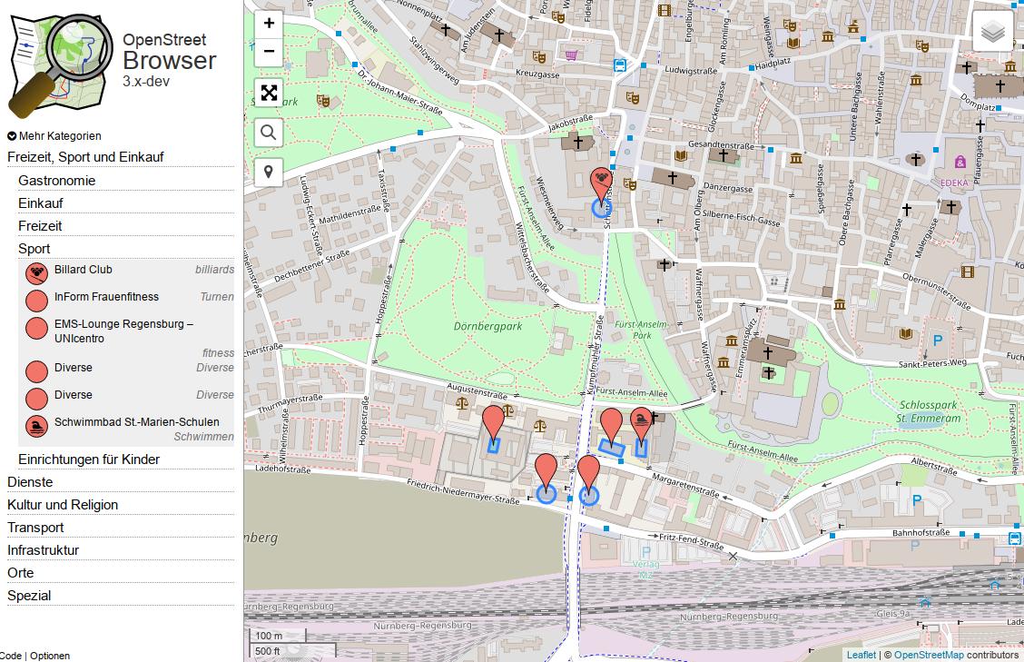 Ausschnitt aus dem OpenStreetBrowser