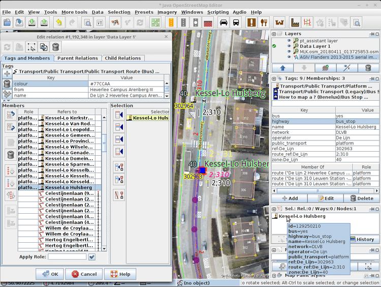 JOSM-Screenshot von Polyglots ÖPNV-Mappingschema