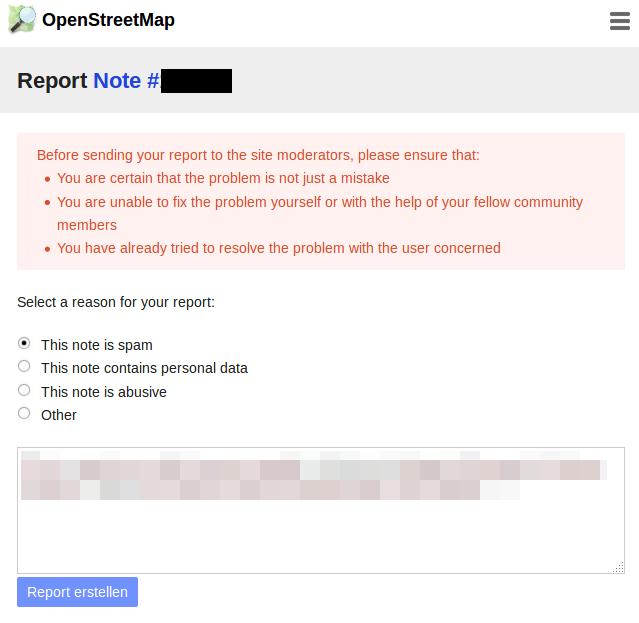 Screenshot der neuen Melden-Funktion auf openstreetmap.org