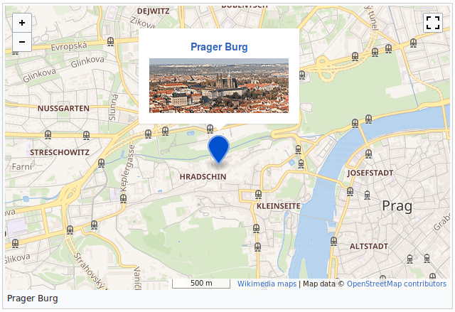 Karte mit der Umgebung der Prager Burg, wie sie in einem MediaWiki sein könnte