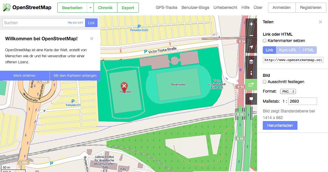 neues Design von openstreetmap.org