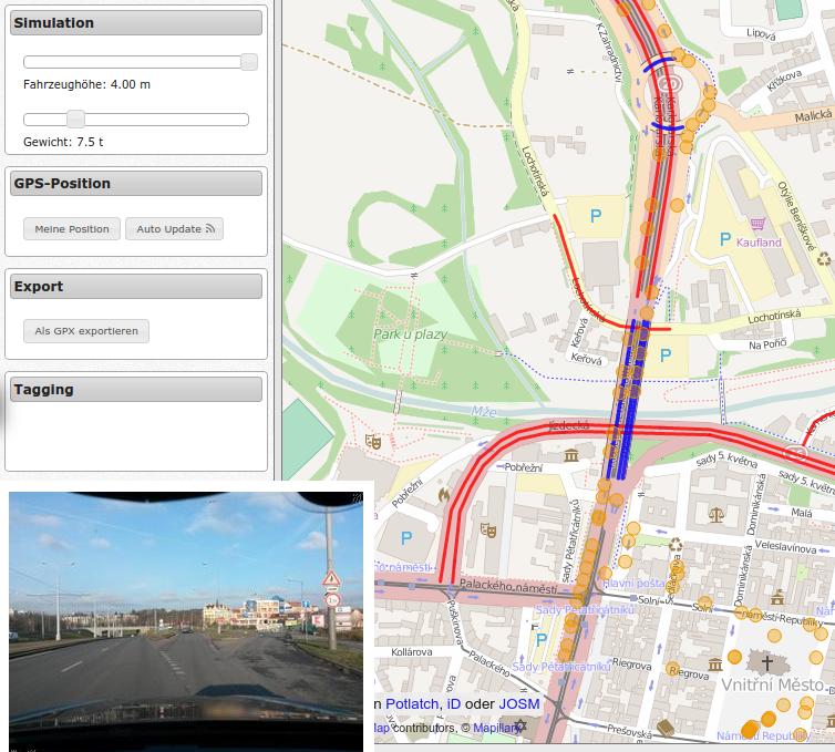 OSM Truck QA Map mit Einblendung von Mapillary Fotos [1]