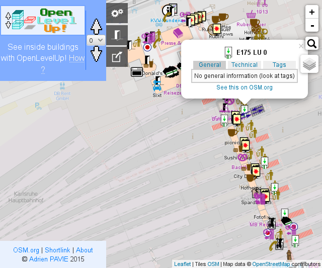 Screenshot OpenLevelUp! Karlsruhe Hbf, Ebene 0 (Personentunnel)