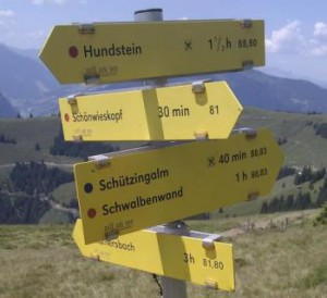 Ein Wanderwegweiser an einer Wegkreuzung in den Alpen