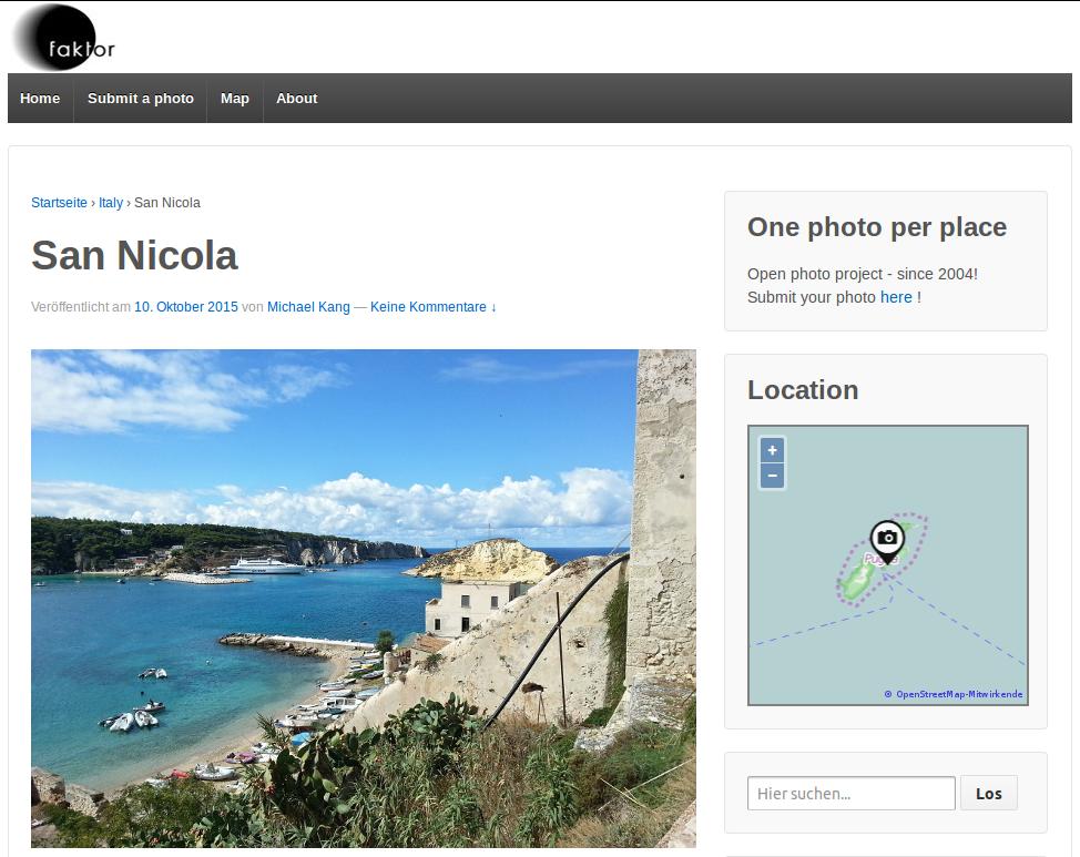 Screenshot Fotomobil mit Fotos und Karte
