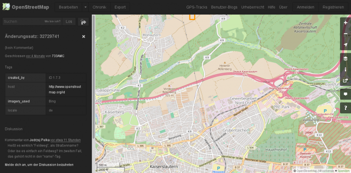 Screenshot des OpenStreetMap Dark Theme mit Greasemonkey