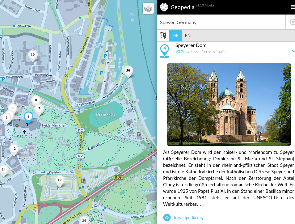 Screenshot Geopedia