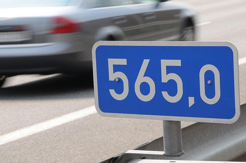 Beispiel einer Autobahnkilometrierung
